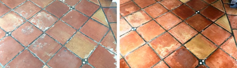 Stripping Wax from Mexican Terracotta Kitchen Tiles in Penwortham