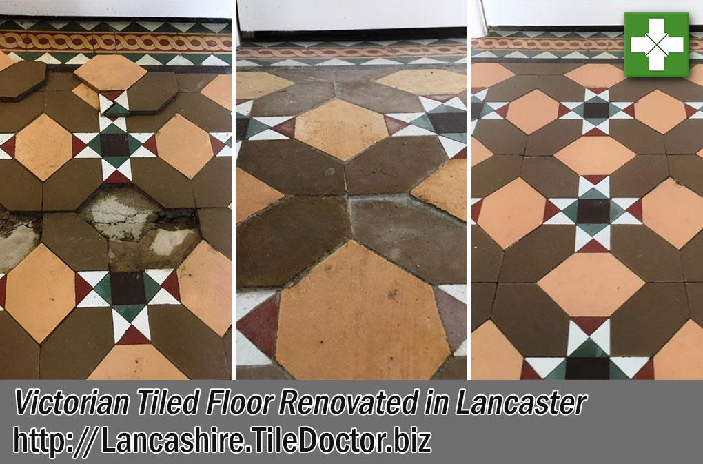Victorian Tiled Hallway Floor Before After Restoration Lancaster