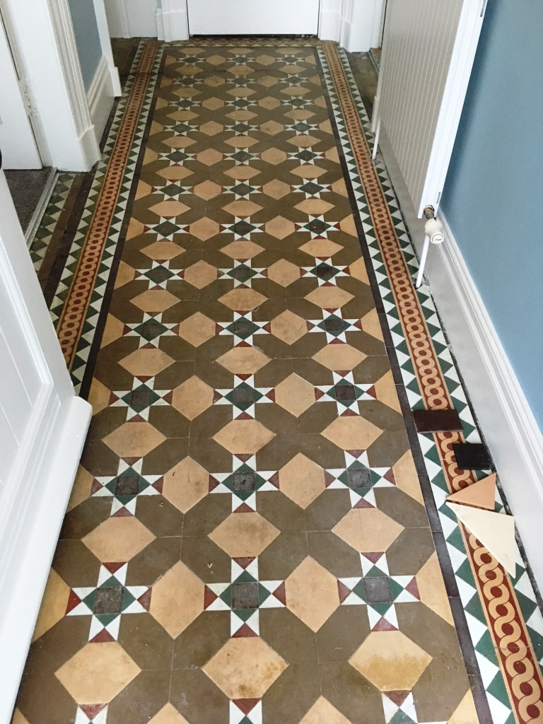 Victorian floor tiles before restoration Lancaster