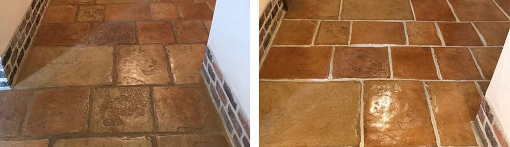 Sandstone Effect Concrete Hallway Floor Deep Cleaned in Garstang
