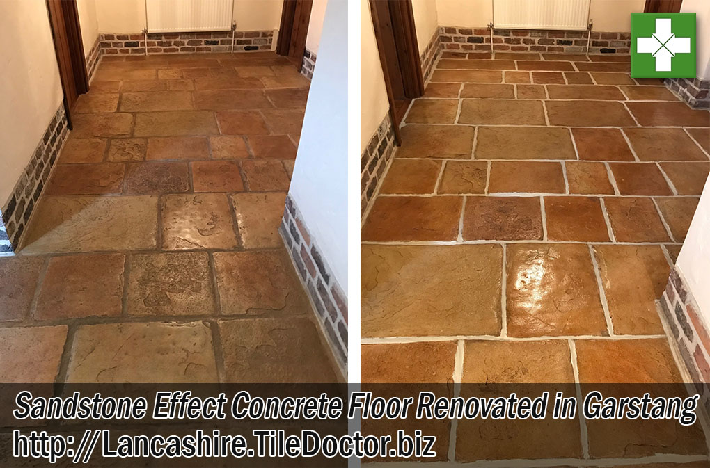Sandstone Effect Concrete Floor Before After Cleaning Garstang