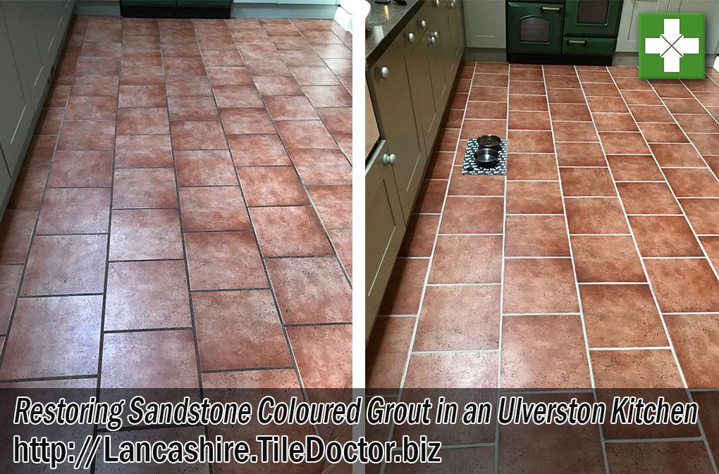 Sandstone Floor Grout Before After Restoration Ulverston