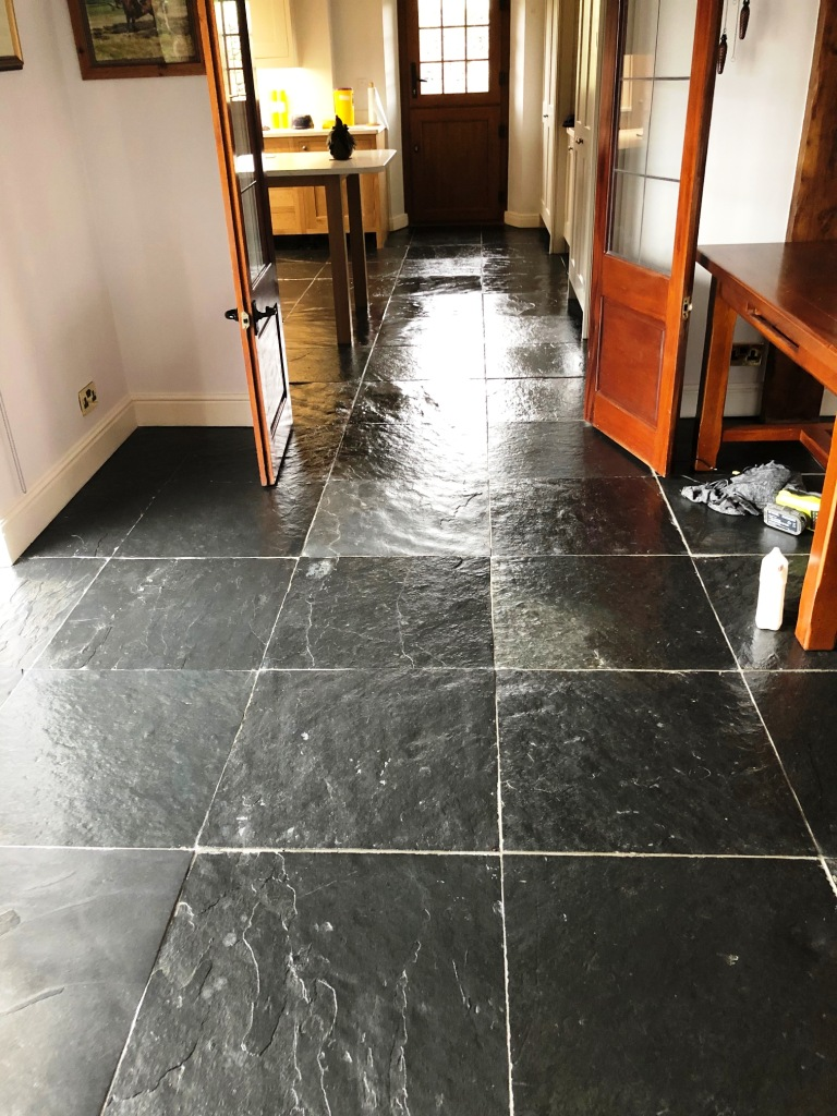 Rough Black Slate Floor After Cleaning Bentham