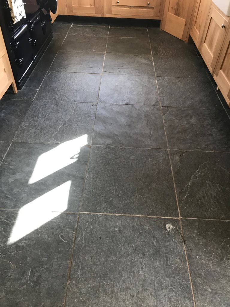 Rough Black Slate Floor Before Cleaning Bentham