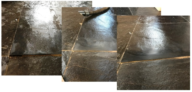 Rough Black Slate Tile Before During After Surface Correction Bentham