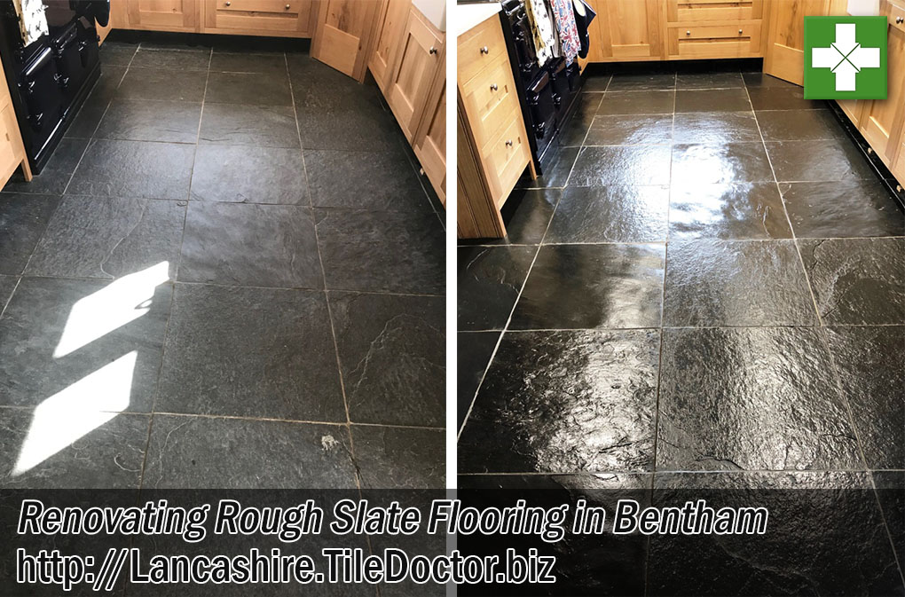 Semi Riven Slate Floor Before After Renovation Bentham