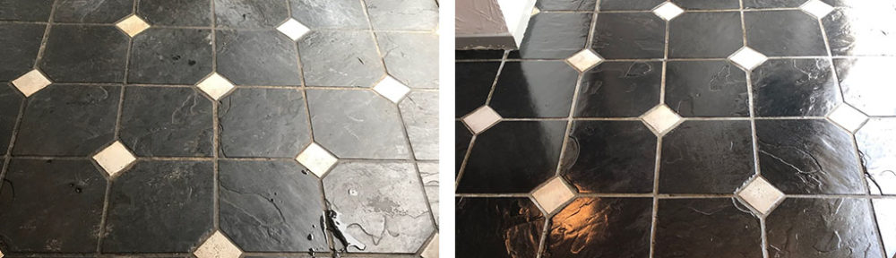 Renovating a Bolivian Black Slate floor in Blackpool