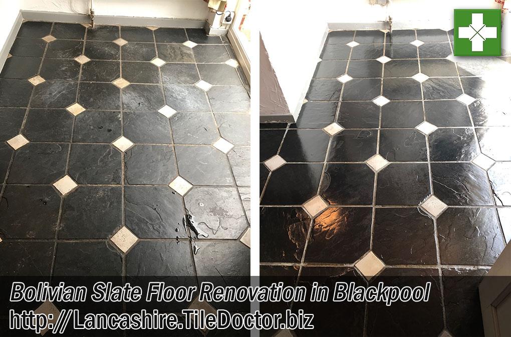 Bolivian Black Slate Floor Before After Renovation Blackpool