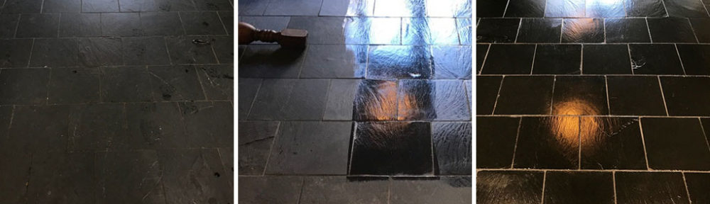 Renovation of a Black Slate Kitchen Floor in Lancaster