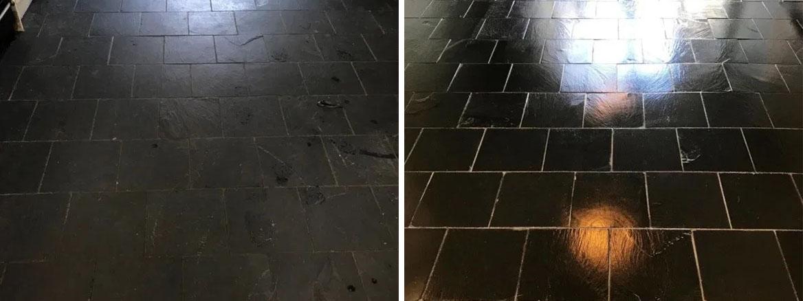 Black Slate Floor Before and After Renovation Lancaster