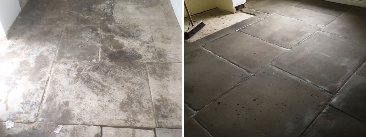 Flagstone Floor Before and After Restoration Great Harwood