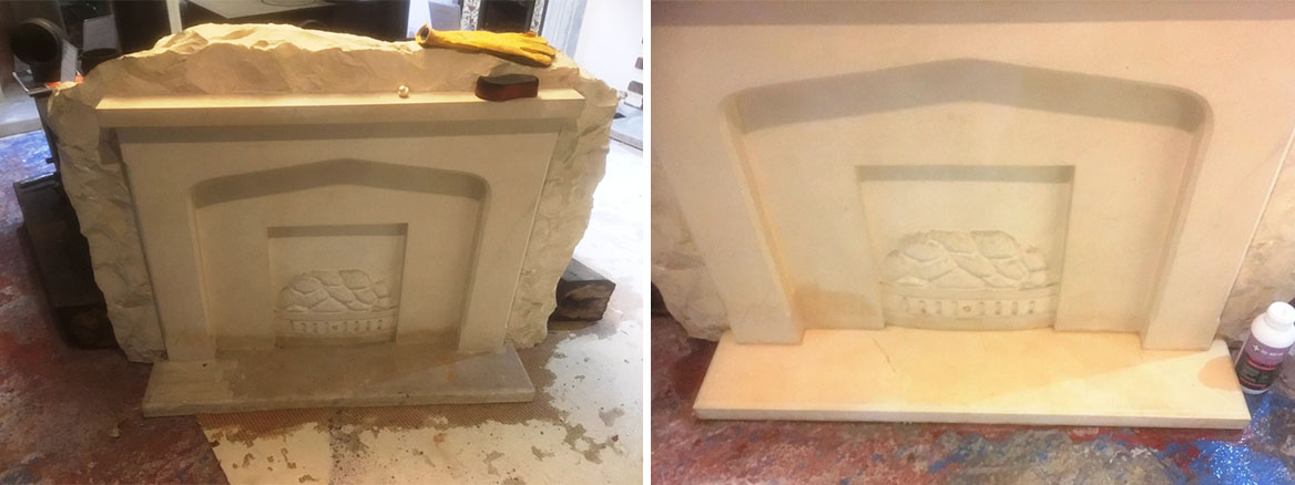Limestone Fireplace Hearths Stained by Flooding Rejuvenated in Morecambe