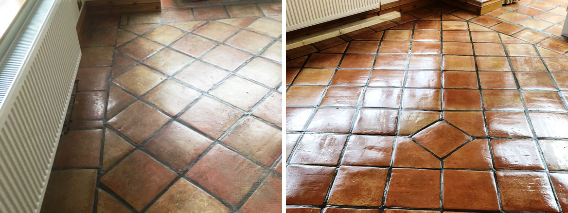 Carpet Covered Mexican Terracotta Floor Restored in Elswick