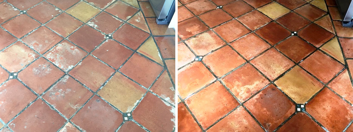 Mexican Terracotta Floor Penwortham Before and After Cleaning