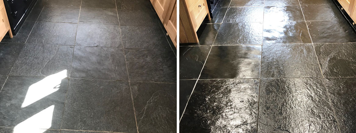 Rough Black Slate Floor Before and After Cleaning Bentham