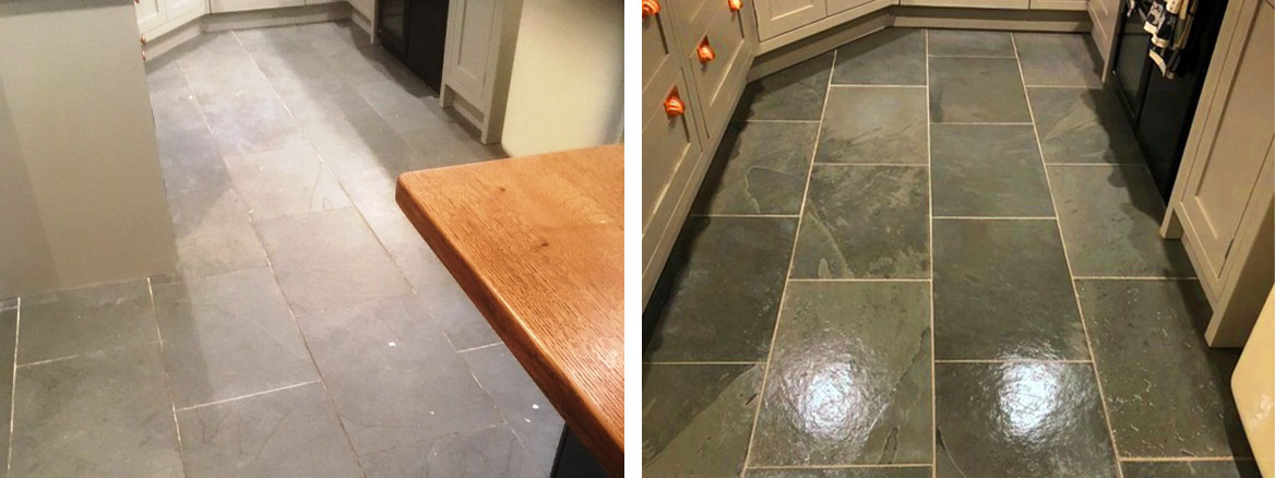 Brazilian Grey/Green Semi-Riven Slate Floor Hornby Kitchen