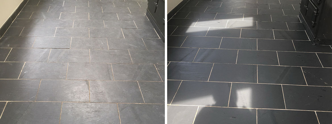 Slate Floor Before and After Cleaning High Bentham
