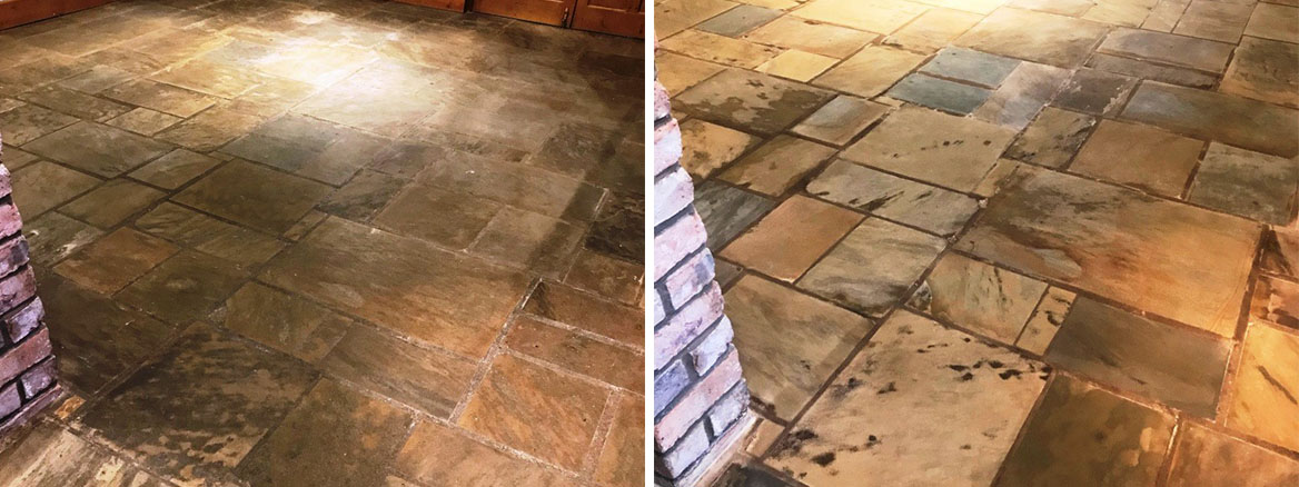 Textured Indian Sandstone Before and After Cleaning Barnoldswick