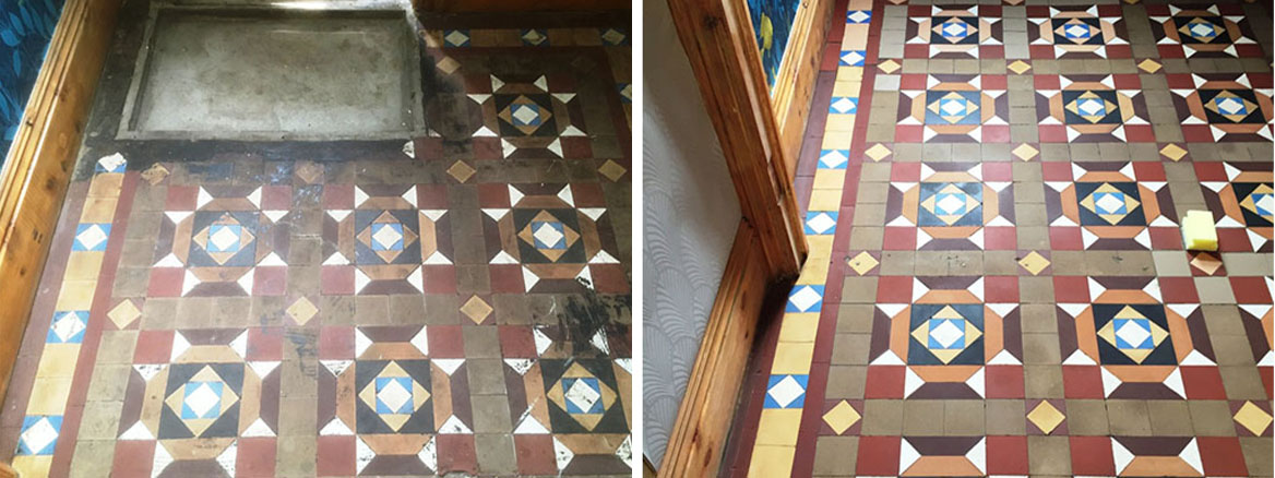 Bitumen Stained Victorian Geometric Hallway Rejuvenated in Barrow in Furness