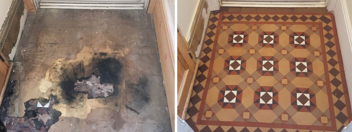 Victorian Tiled Porch Hidden Under Vinyl Restored in Lytham