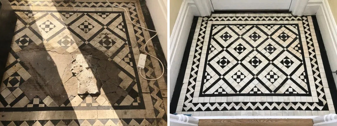 Victorian Tiled Lobby Before and After Rebuild Lytham St Annes