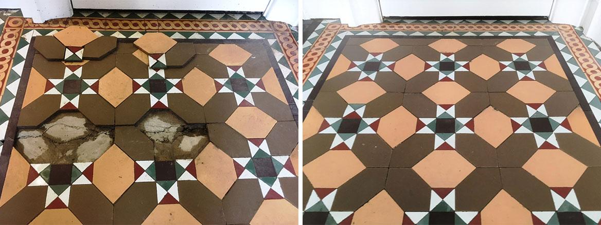 Victorian floor tiles Before and After restoration Lancaster