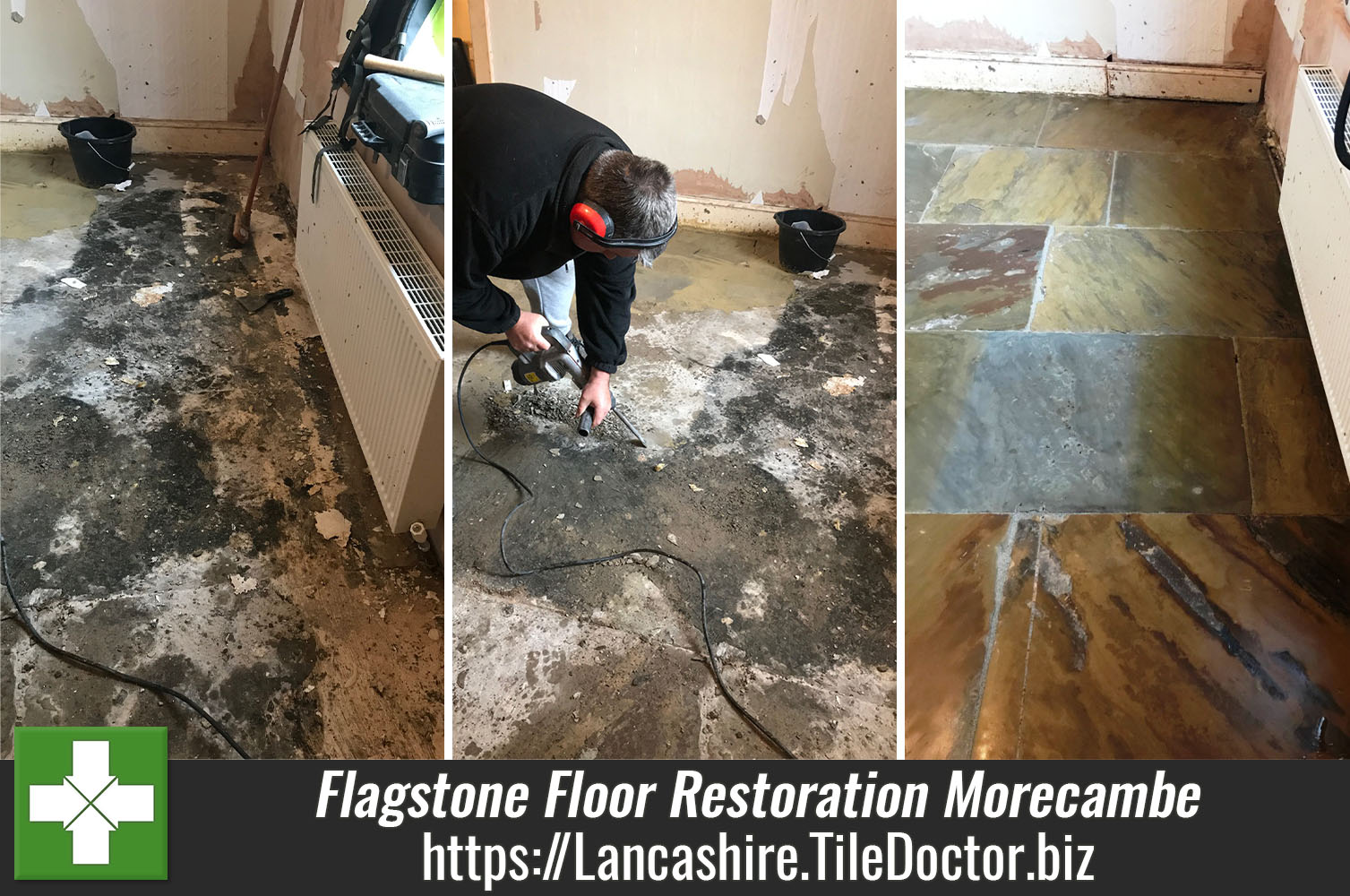 Old Bitumen Covered Flagstone Floor Restored in Morecambe