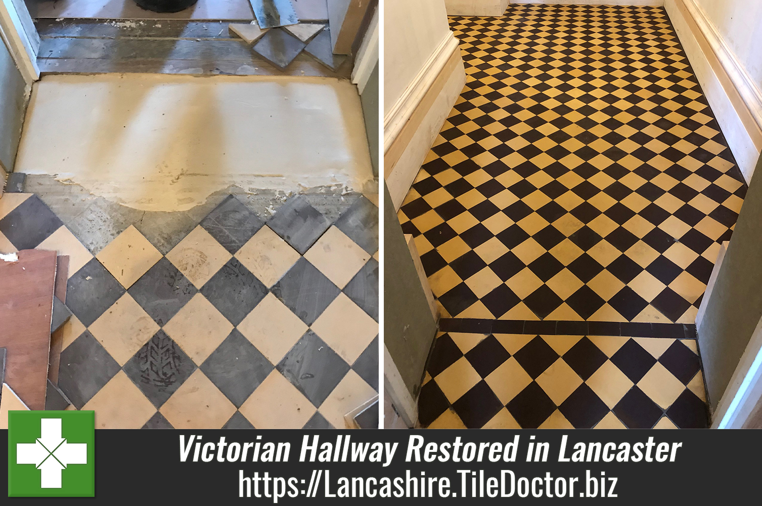 Yellow and Black Victorian Hallway Floor Tiling Restored in Lancaster
