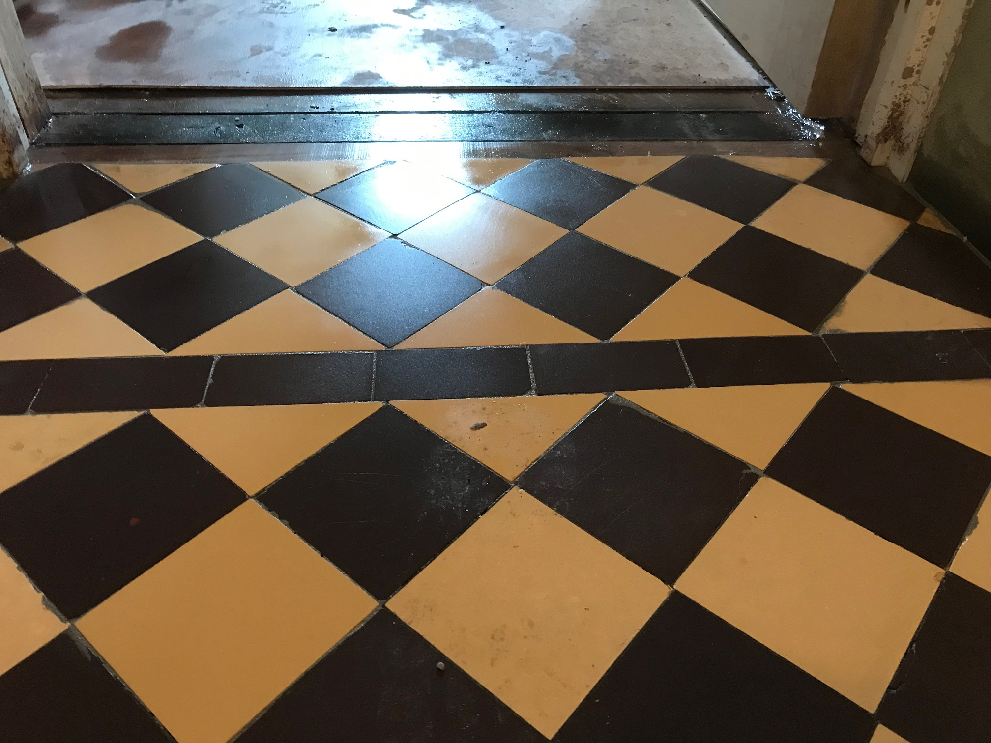 Yellow and Black Victorian Tile Floor After Restoration Lancaster
