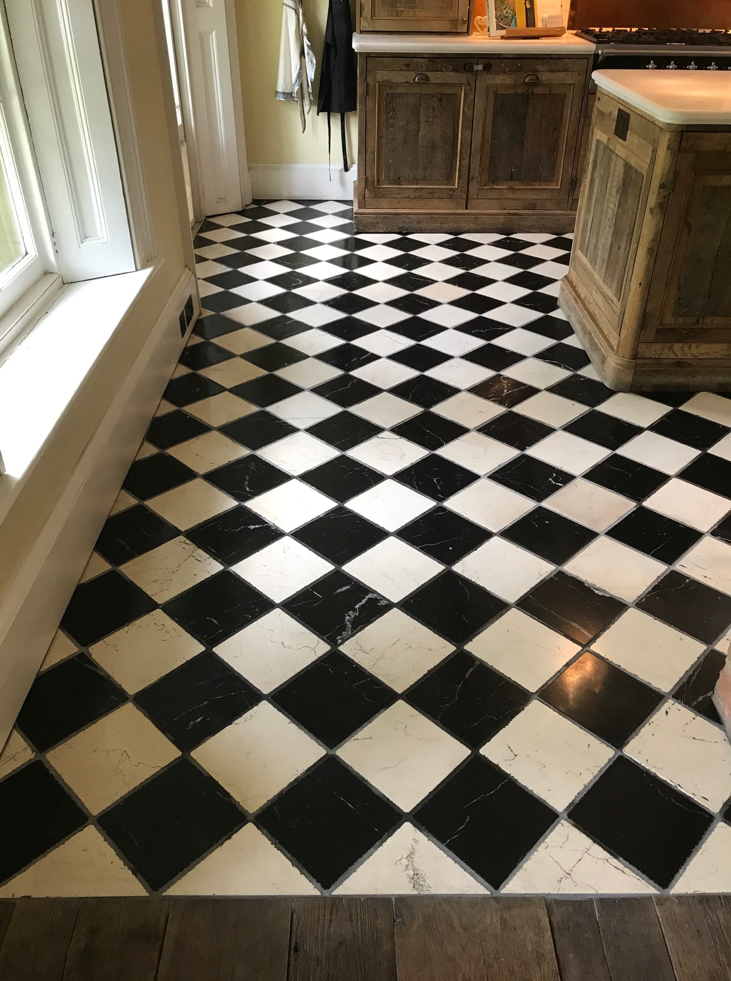 Classic Black and White Marble Kitchen Floor After Grouting Renovation Bamber Bridge