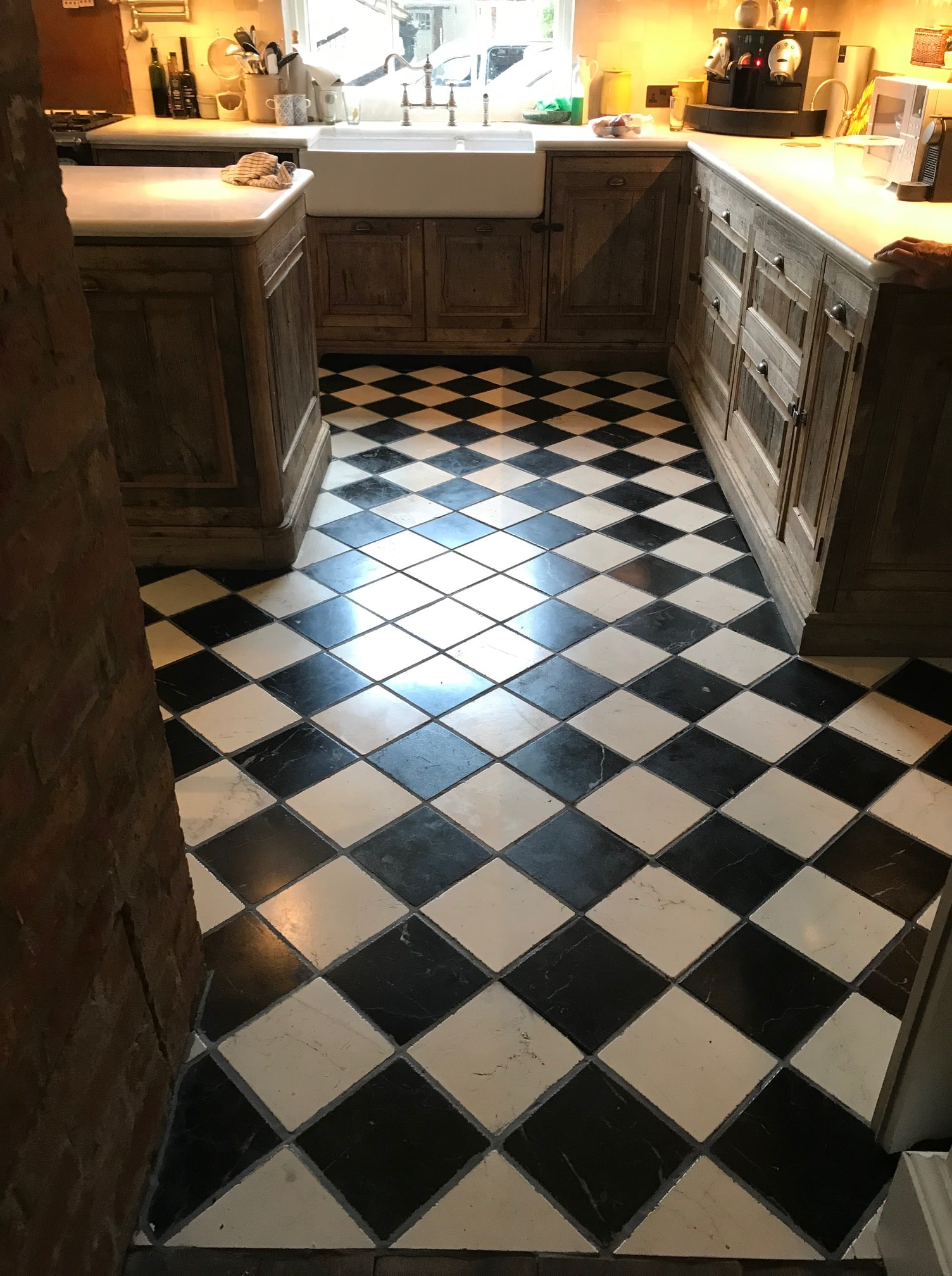 Classic Black and White Marble Kitchen Floor After Renovation Bamber Bridge