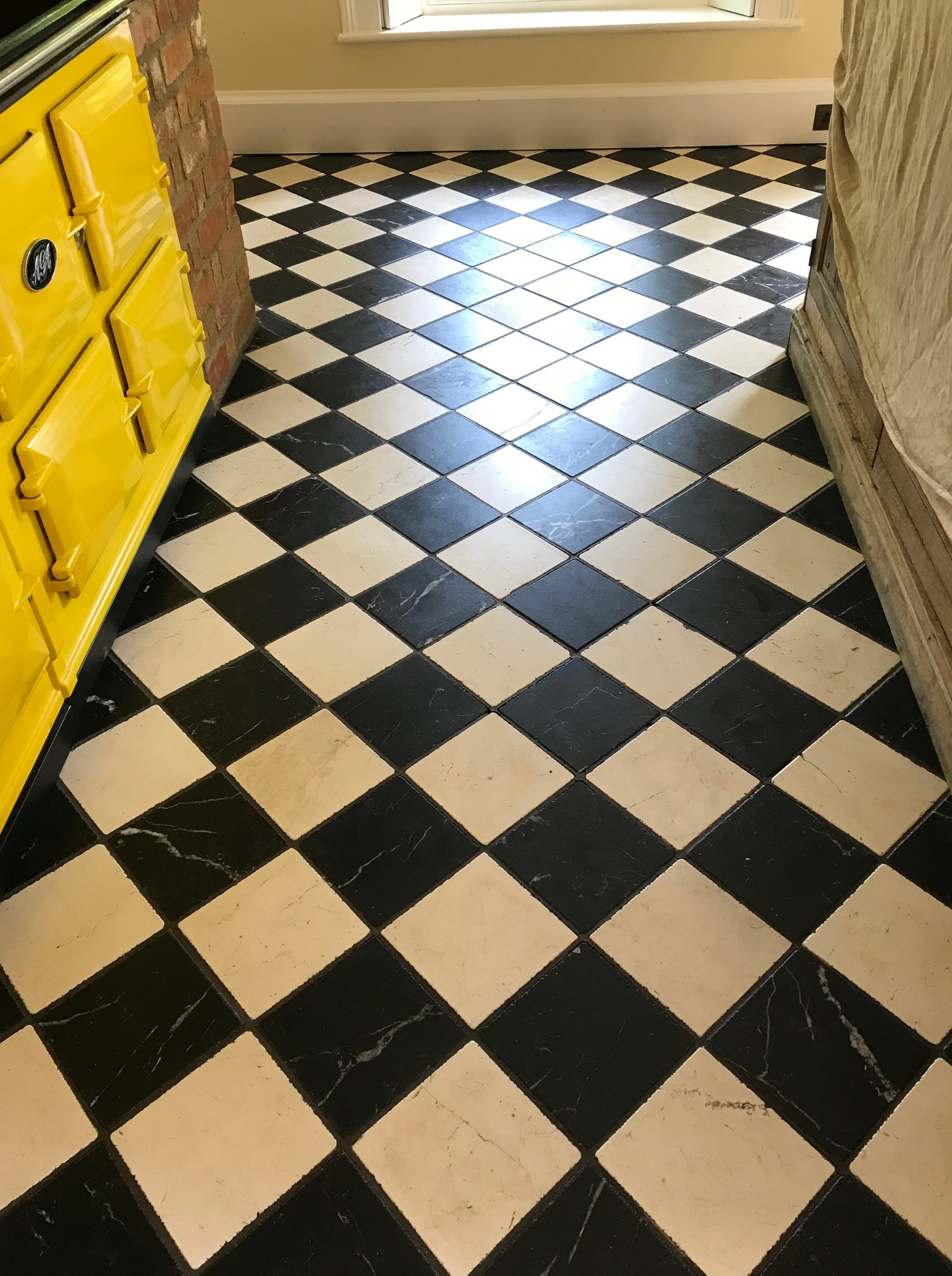 Classic Black and White Marble Kitchen Floor Before Renovation Bamber Bridge