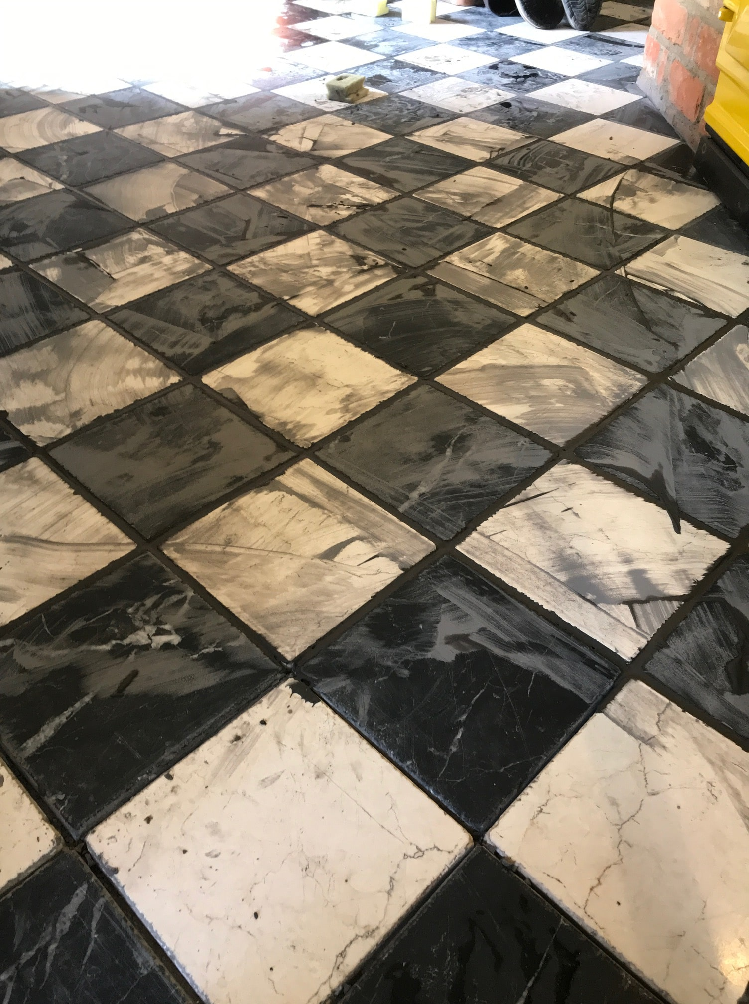 Classic Black and White Marble Kitchen Floor During Grouting Bamber Bridge