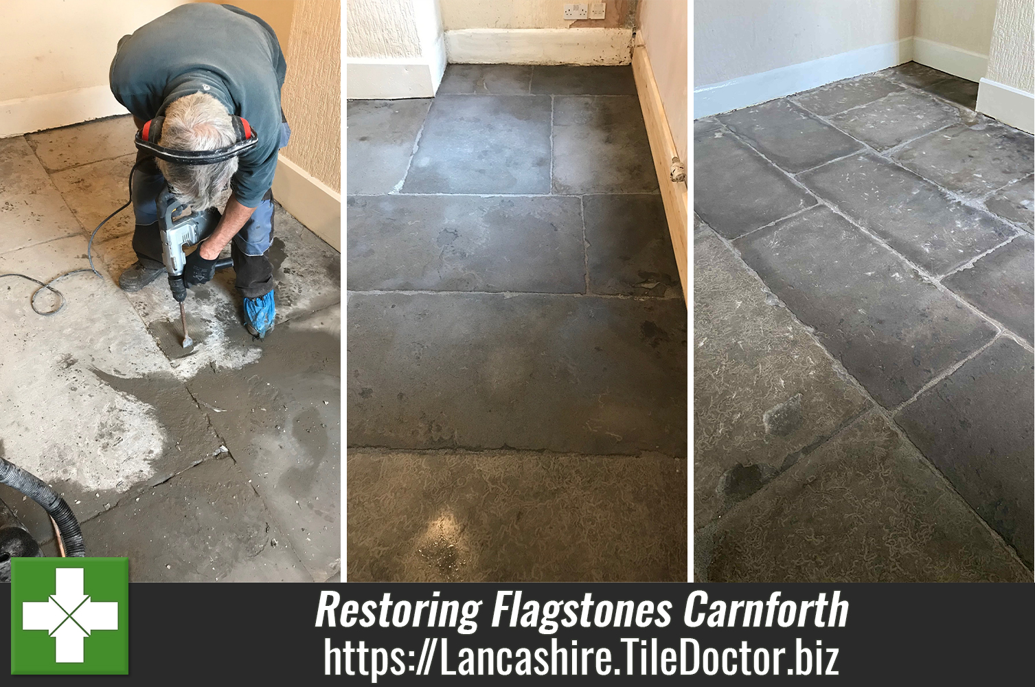 Renovating Flagstones Covered in Concrete Screed and Bitumen in Carnforth