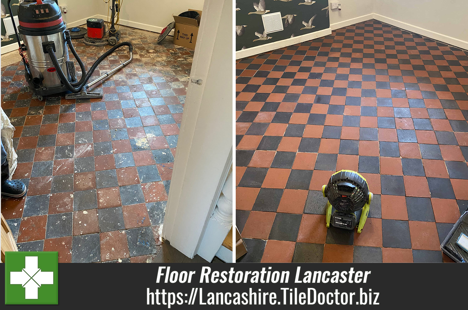 Original Red & Black Victorian Tiled Floor Fully Restored in Lancaster